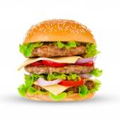 Grote hamburger op witte achtergrond — Stockfoto