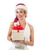 Portrait beautiful woman wearing a santa hat — Foto de Stock