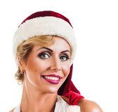 Portrait beautiful woman wearing a santa hat — Stock Photo
