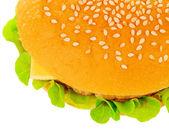 Big hamburger on white background — Stock Photo