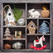 Christmas decoration in a wooden vintage box. Christmas collage — Stock Photo #54752789