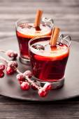 Christmas mulled wine with spices — 图库照片