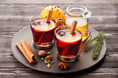 Christmas mulled wine with spices and honey — Stock Photo