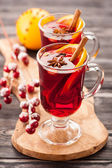 Traditional mulled wine with spices — Stock Photo