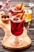 Hot wine mulled wine with spices — Stock Photo