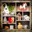 Christmas collage with Christmas decorations. Antique clocks, rocking horse and Christmas toys. Retro Style. — Stock Photo #56250505