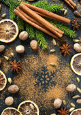 Spices for Christmas baking. Christmas food background — Stock Photo