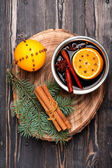 Christmas hot drink mulled wine with spices — Stok fotoğraf