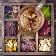 Herbal and flowers tea and dried herbs and flowers in a wooden box — Stock Photo #64243903