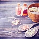 Spa. Aromatherapy essential oils, flowers, sea salt. Spa set — Stock Photo #64245235