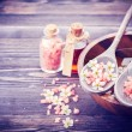 Spa. Aromatherapy essential oils, flowers, sea salt. Spa set — Stock Photo #64245297