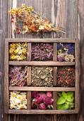 Dried medicinal  herbs and flowers  in a wooden box — Stock Photo