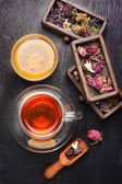 Dried herbs and flowers and herbal tea. top view — Stock Photo