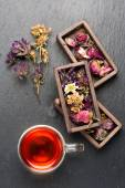Herbal tea and dried herbs and flowers. top view — Stock Photo