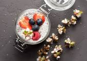 Chia pudding dessert with berries — Stock Photo