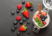 Chia pudding with coconut milk and berries. top view — Stock Photo