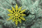 Beautiful snowflake on a Christmas tree — Stock Photo