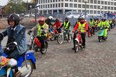 Run of mopeds on streets of Helsinki ,may 16 2014 — Stock Photo