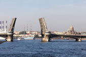 The drawn Blagoveshchensky Bridge in the summer in the city of S — Stock Photo