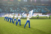 A cheerleading flash mob dance — Stockfoto