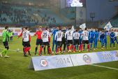 Football match Dynamo (Moscow) (blue) vs Amkar (Perm) — Foto de Stock