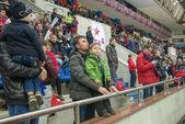 Unidentified fans during a break on hockey game — Foto de Stock