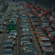 Cars stands in traffic jam on the city center — Stock Photo #71189297