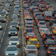 Cars stands in traffic jam on the city center — Stock Photo #71189299