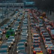 Cars stands in traffic jam on the city center — Stock Photo #71189307