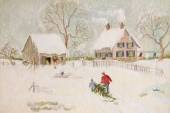 Winter scene of a farm with people, digitally altered — Foto de Stock