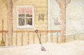 Front porch in snow with clothesline, digitally altered — Stok fotoğraf