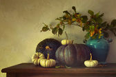 Fall pumpkins and gourds on table — Stock Photo