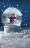 Snow globe in a snowy winter scene — Stok fotoğraf