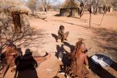 Himba people in their village — Stock Photo