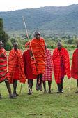 Kenyan maasai men in mantles — Stock Photo