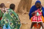 Masai tribal woman with phone — Stock Photo