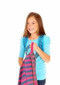 Girl holding her backpack. — Stock Photo