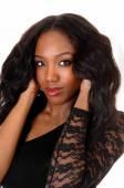 Closeup portret van zwarte vrouw. — Stockfoto