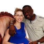 Happy mixed race pregnant couple. — Stock Photo #73142529