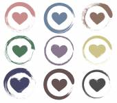 Set of grungy heart icons — Stock Vector