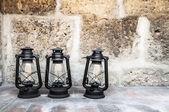 Three old lanterns in Santa Catalina monastery — Stock Photo