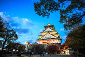 Osaka Castle in Osaka, Japan during a colorful pastel summer sun — Stock Photo