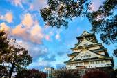 Osaka Castle in Osaka, Japan during a colorful pastel summer sun — Stockfoto