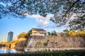 Osaka Castle in Osaka, Japan during a colorful pastel summer sun — Foto Stock