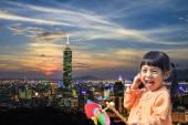 Taipei, Taiwan evening skyline — Stock Photo