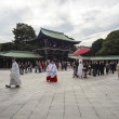 Visitor dresses up a traditional dree at Meiji-jingu shrine — Stock Photo #59592779