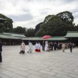 Visitor dresses up a traditional dree at Meiji-jingu shrine — Stock Photo #59593249