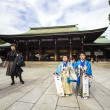 Visitor dresses up a traditional dree at Meiji-jingu shrine — Stock Photo #59593683