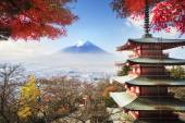 Mt. Fuji with fall colors in Japan. — Stock Photo