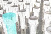 Closeup pilha do parafuso no fundo branco — Fotografia Stock